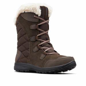 Women's Columbia Ice Maiden II Waterproof Leather Winter Boots 8.5 brown